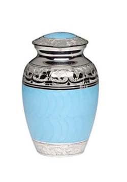 Baby Blue Enamel Silver Cremation Urns