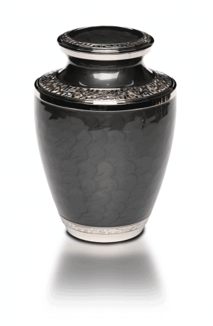 Adult Brass Adult Black Cremation Urn with nickel overlay and enamel.