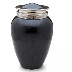 Midnight Pearl Polished Silver Scroll Leaf Urn