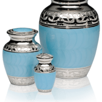 Baby Blue Enamel Silver Cremation Urns