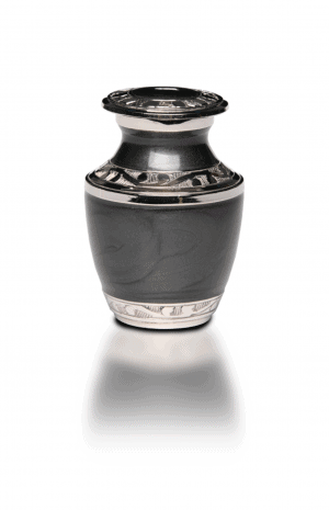 Brass Cremation Urn with nickel overlay and enamel.