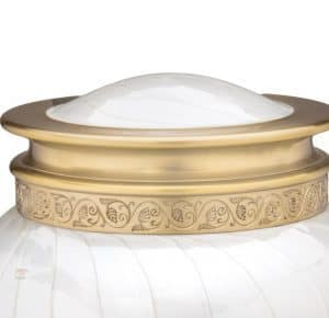 Pearl White Soft Golden Scrolled Leafs