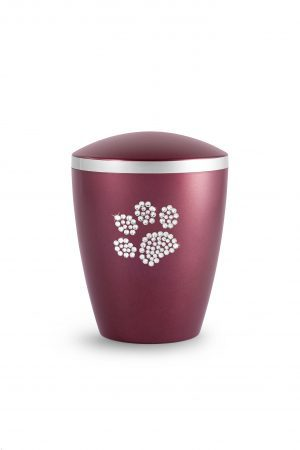 Deep Red Bio-Degradable Urn with Crystal Paw Prints