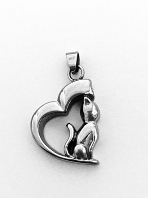 Half Heart With Cat Cremation Pendant