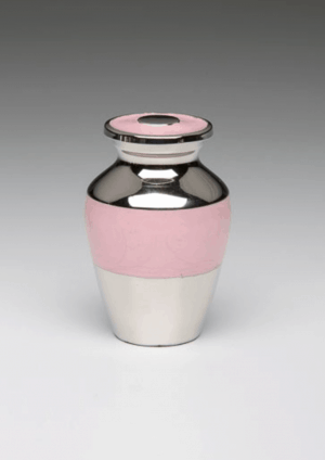 Pink Enamel Silver Cremation Urns