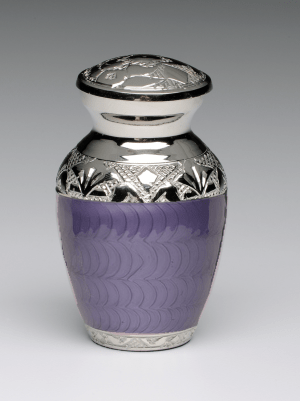 Purple Enamel Silver Cremation Urns