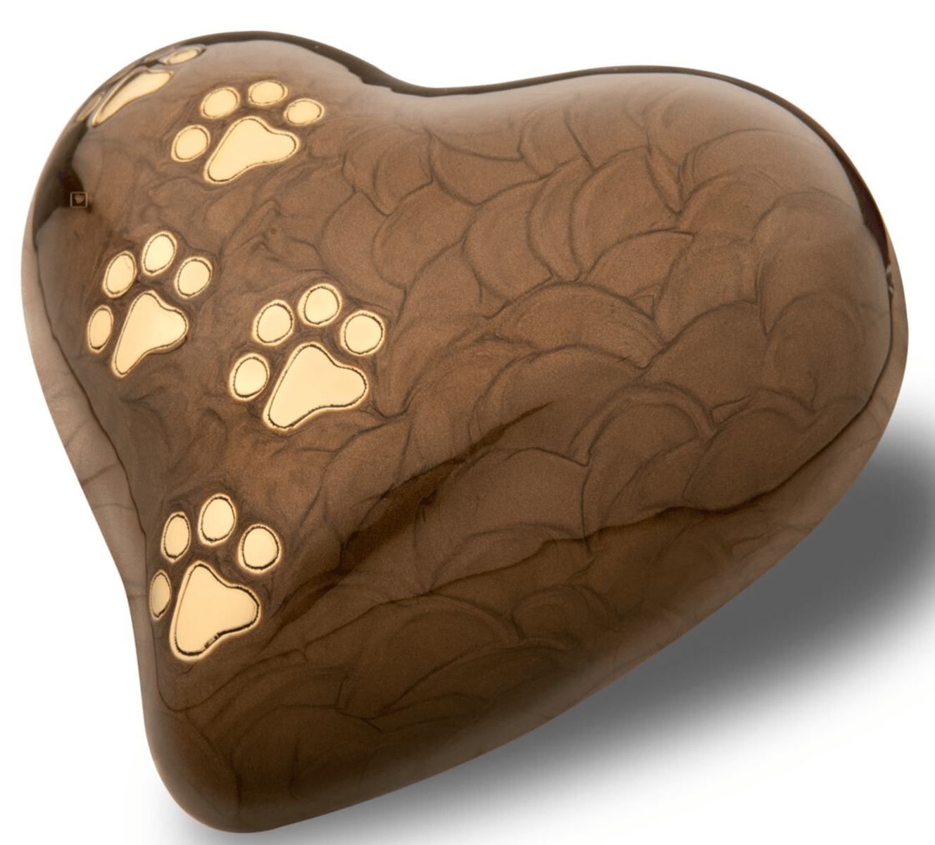Pearl Heart Bronze Gold Tone Paw Prints Natures Pet Loss