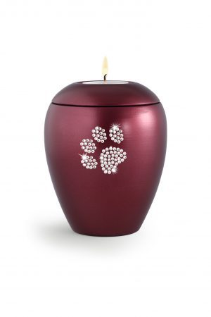 Deep Red Ceramic Swarovski Crystal Pet Paw Print Tea Light