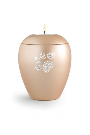 Apricot Ceramic Swarovski Crystal Pet Paw Print Tea Light