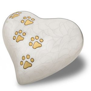 Large Heart Urn With Paw Print