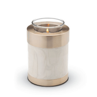 Tea Light 2 Tone White Pearl With Brushed Gold Tone Bottom And Top