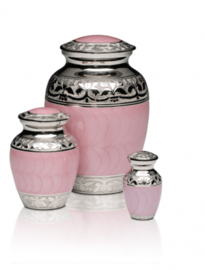 Baby Pink Enamel Silver Cremation Urns