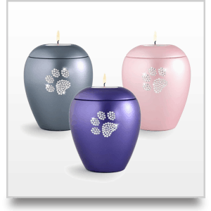 Ceramic Swarovski Crystal Pet Paw Print Tea Light Urn