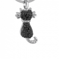 Black Crystal Cat Stainless Steel Cremation Pendant