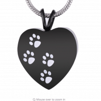Black Heart White Paw Print Cremation Pendant