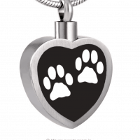 Stainless Steel Trimmed Black Heart White Paw Print Cremation Pendant