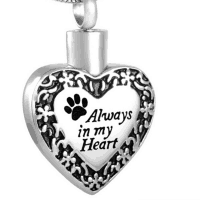 Always In My Heart Paw Print Cremation Pendant Stainless Steel