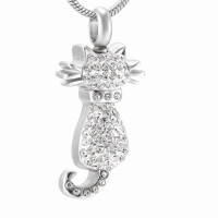 Clear Crystal Cat Stainless Steel Cremation Pendant