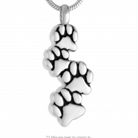 Stainless Steel 4 Paw Prints Cremation Pendant