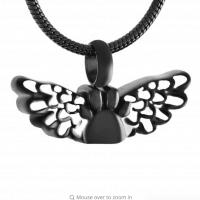 Black and White Stainless Steel Paw Print with Angel Wings