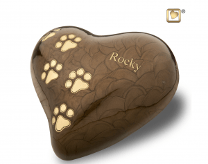 Engraving Heart Pearl Bronze Paw Print