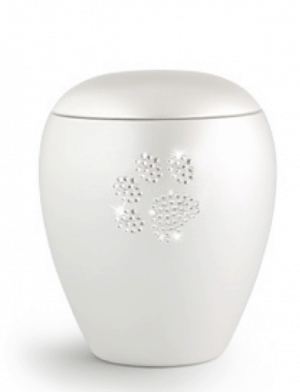 White Swarovski Crystal Paw Print No Tea Light
