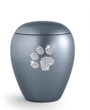 Gun Metal Blue Swarovski Crystal Paw Print No Tea Light
