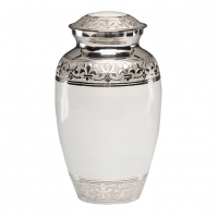 White Enamel Silver Cremation Urns
