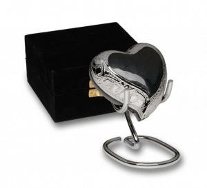 Charcoal Black Enamel Silver Cremation Urns