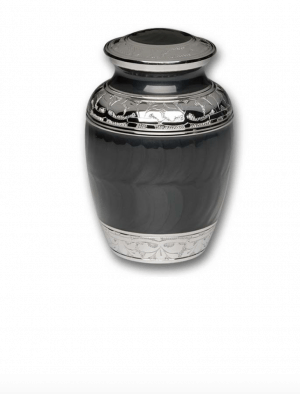 Charcoal Black Enamel Silver Cremation Urns