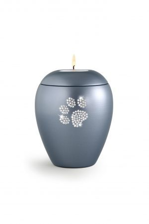 Gun Metal Blue Ceramic Swarovski Crystal Pet Paw Print Tea Light
