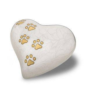 Medium Heart Urn With Paw Print