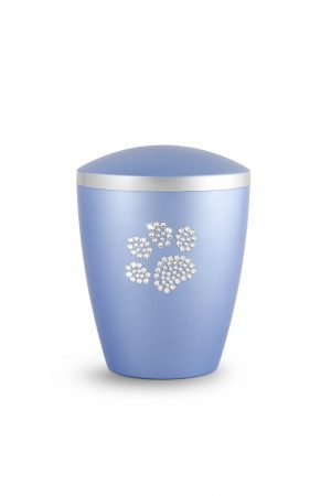 Soft Blue Bio-Degradable Urn with Crystal Paw Prints