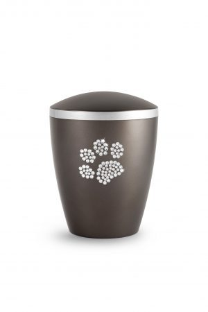 Soft Chocolate Bio-Degradable Urn with Crystal Paw Prints