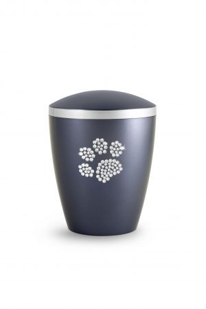 Soft Black Bio-Degradable Urn with Crystal Paw Prints